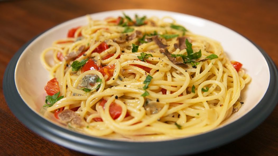 Gorgonzola truffle and cherry tomato pasta sauce recipe by The Chiappas