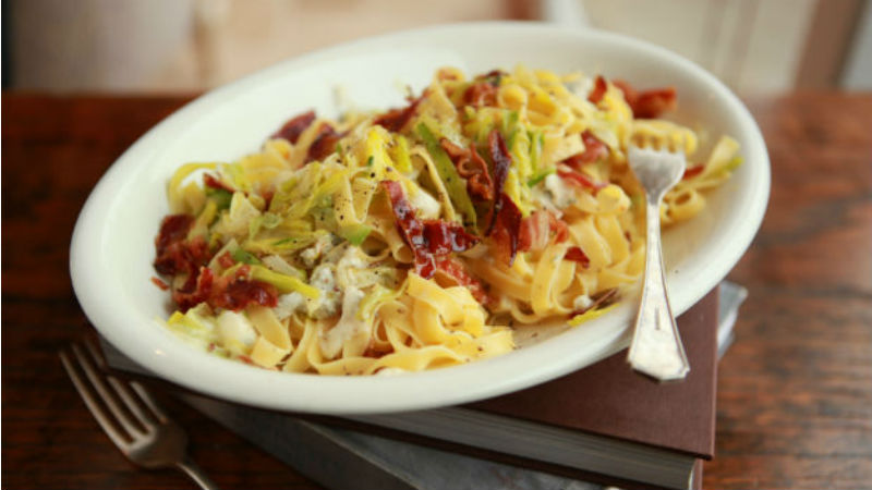 Pancetta Leeks and Creamy Cheese Speedy Pasta Sauce recipe by The Chiappas