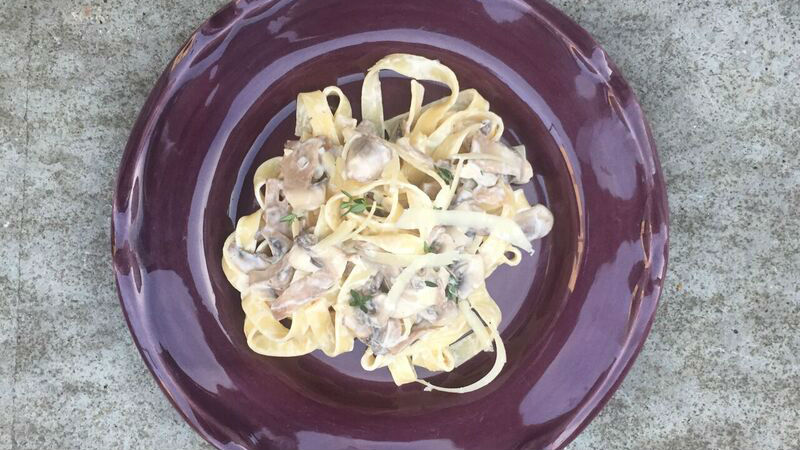 Creamy Mushroom, White Wine and Thyme Pasta Sauce recipe by The Chiappas