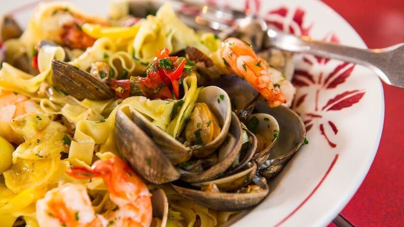 Fresh Saffron Pasta with clams and prawns recipe by the chiappas