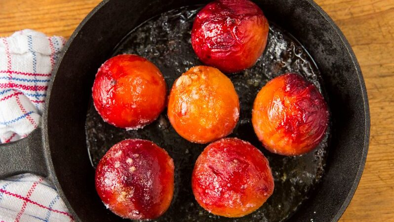 Roasted peaches in orange syrup recipe by The Chiappas